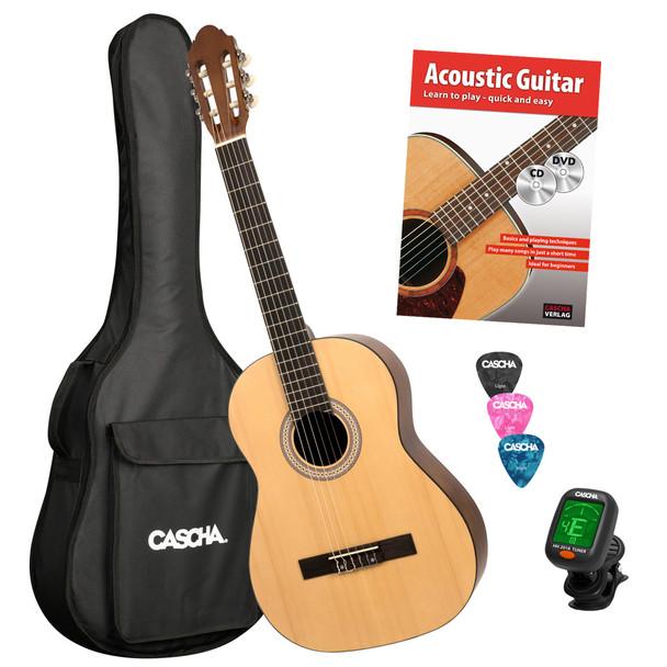 CASCHA 4/4 Classical Guitar Starter Set with Instruction Book/Tuner/Gig Bag /3 Picks