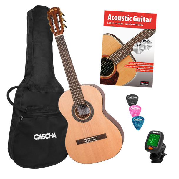 CASCHA 3/4 Classical Guitar Starter Set with Instruction Book/Tuner/Gig Bag /3 Picks
