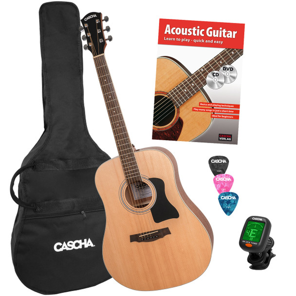 CASCHA Dreadnought Acoustic Guitar Bundle with Instruction DVD & Book/Tuner/Gig Bag /3 Picks