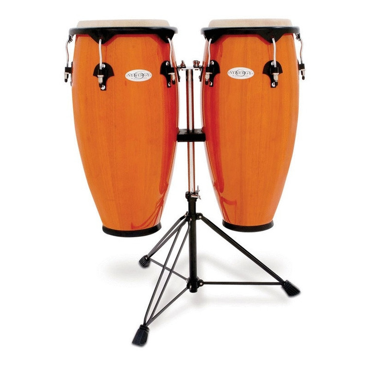 Toca Synergy Wood Conga Set with Stand, Amber