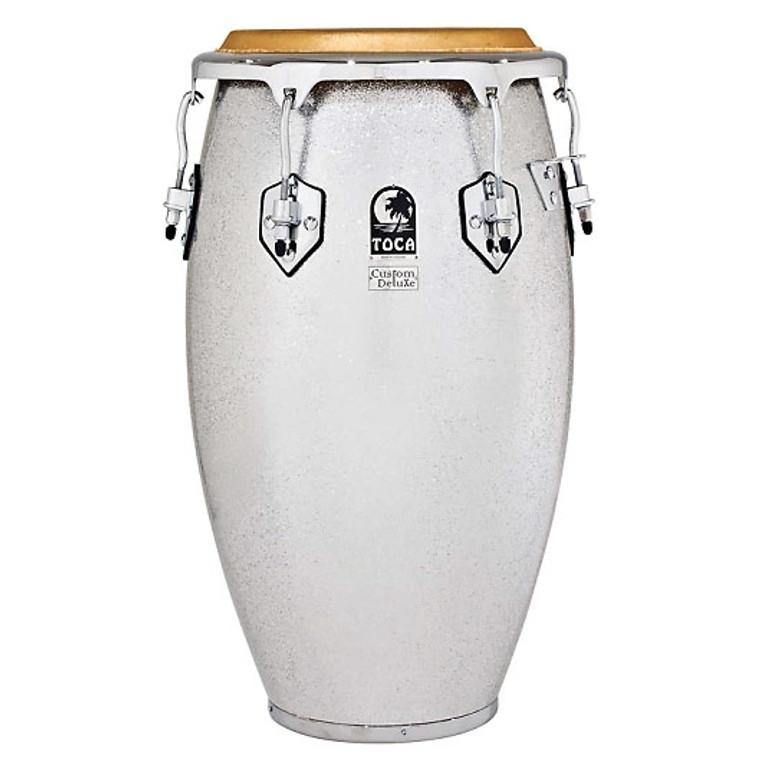"Toca 4612-1/2FS Custom Deluxe Fiberglass 12.5"" Tumba Drum - Silver Sparkle"