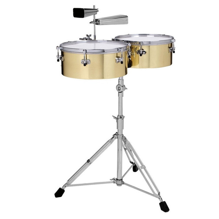 """Gon Bops Alex Acuna Series 14"""" & 15"""" Brass Timbales w/ Stand and Cowbell Holder"""