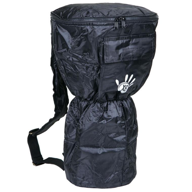 Large Waterproof Djembe Bag, Padded Black Nylon w/ X8 Logo (For 10x20 Djembes)
