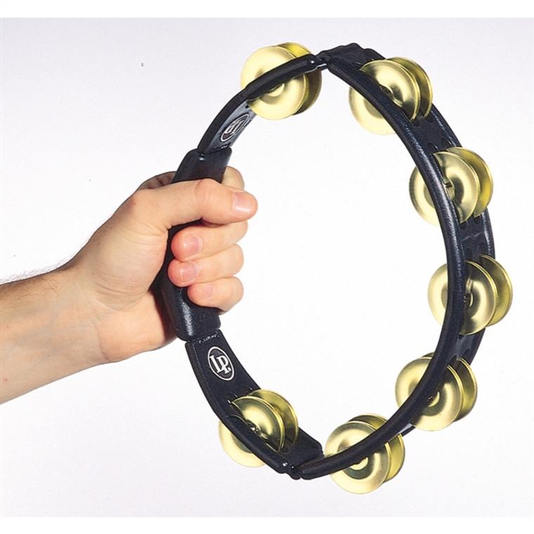 LP Cyclops Hand Held Tambourine, Black, Brass Jingles