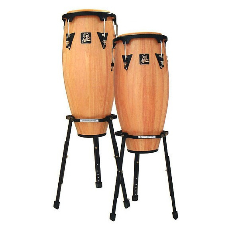 LP Aspire Wood Conga Set with Basket Stands, Natural (LPA646B-AW)