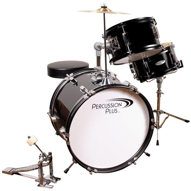 Percussion Plus 3-Piece Junior Drum Set w/ Cymbal & Throne