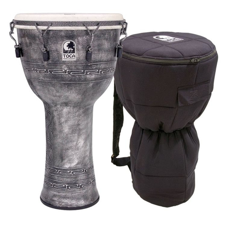 Toca Antique Silver Mechanically Tuned Djembe w/ Bag, 14 Inch