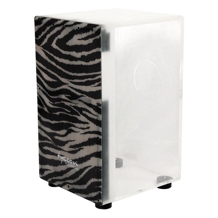 Tycoon Clear Acrylic Cajon, Zebra Design
