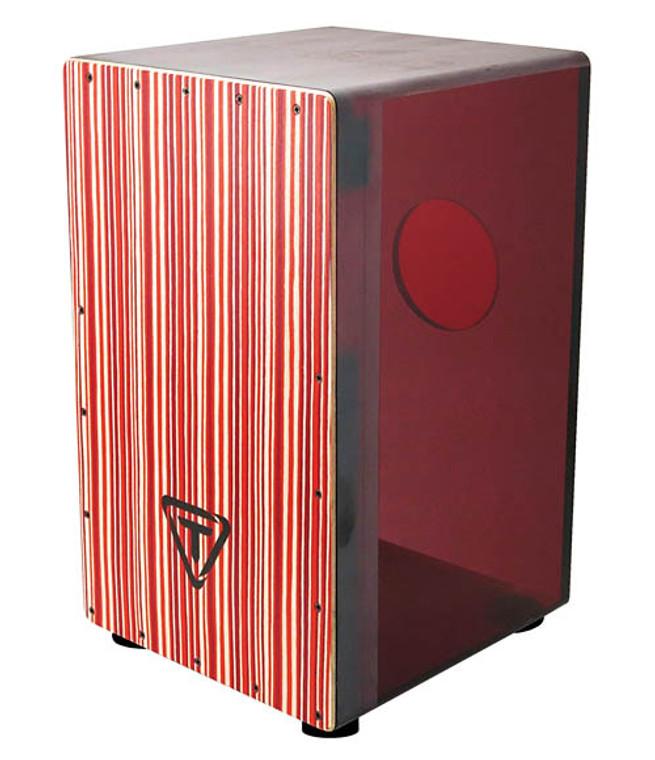 Tycoon Red Acrylic Cajon, Black Makah Burl Front Plate
