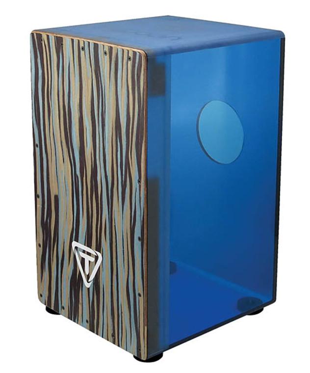 Tycoon 29 Series Royal Blue Acrylic Cajon Black Makah Burl Front Plate