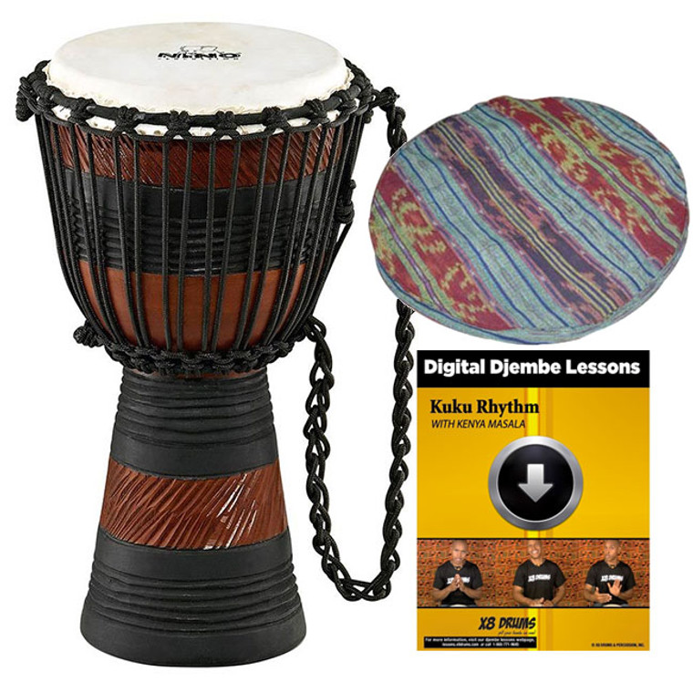 """Nino 8"""" African Style Rope Tuned Djembe, Earth Series with Cap & Lesson"""