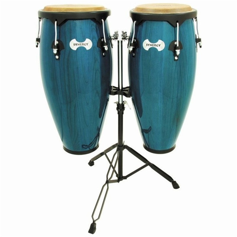 Toca Synergy Wood Conga Set with Stand, Bahama Blue