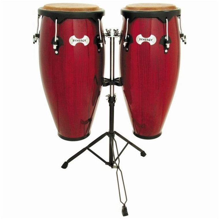 Toca Synergy Wood Conga Set with Stand, Rio Red