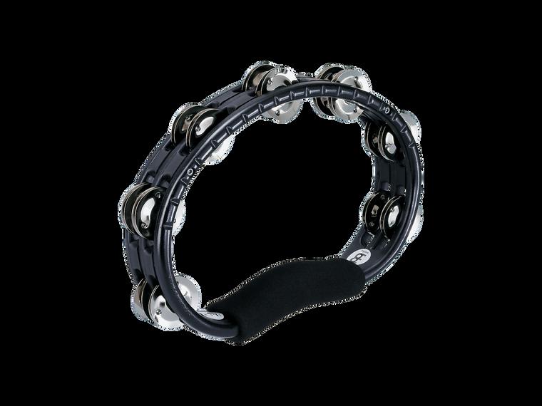 Handheld Traditional Tambourine with Double Row Steel Jingles - Black