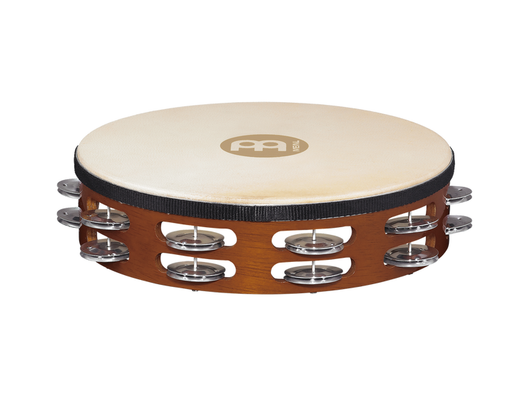 Traditional Goat Skin Wood Tambourine, Aluminum Jingles - 2 Rows