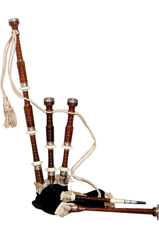 Roosebeck Full Size Sheesham Bagpipe Engraved Nickel Plated w/ Black Cover