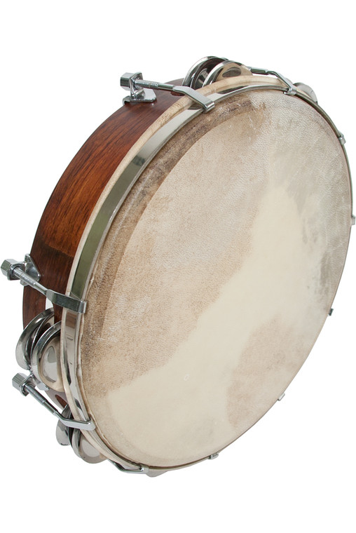 "Mid-East Tunable Sheesham Tambourine 10"""