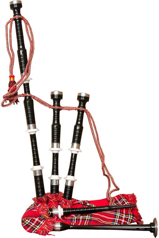 Roosebeck Full Size Sheesham Black Finish Bagpipe w/ Red Tartan Cover