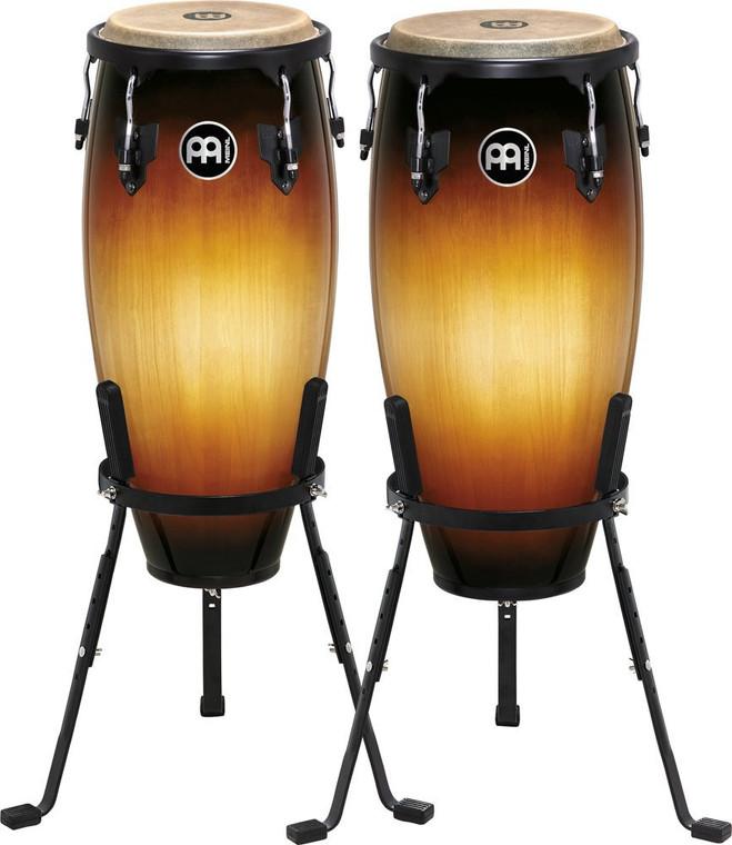 Meinl Headliner Wood Congas 10 in. & 11 in. Set, Incl. Basket Stands Vintage Sunburst