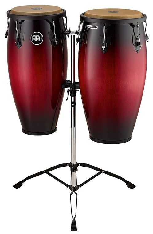 Meinl Headliner Wood Congas Set Wine Red Burst 11 and 12 in. with Tripod Stand