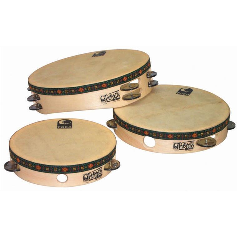 Toca Wood 7.5 in. Tambourine with Head, Steel Jingles