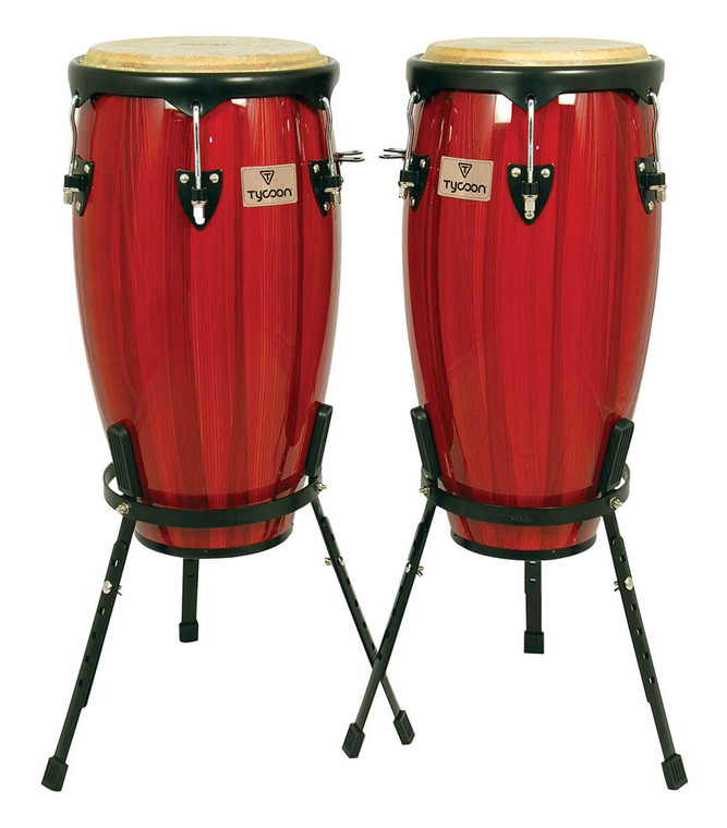 Tycoon Artist Hand-Painted Series Red Conga and Tumba With Two Single Basket Stands