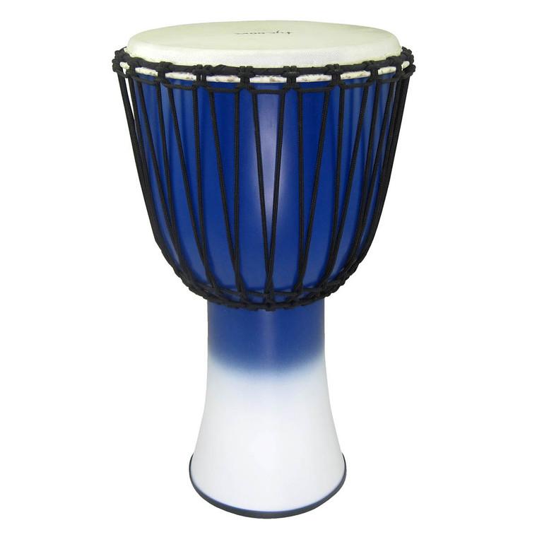"Tycoon 12"" Fiberglass Djembe Rope Tuned Blue & White Finish"
