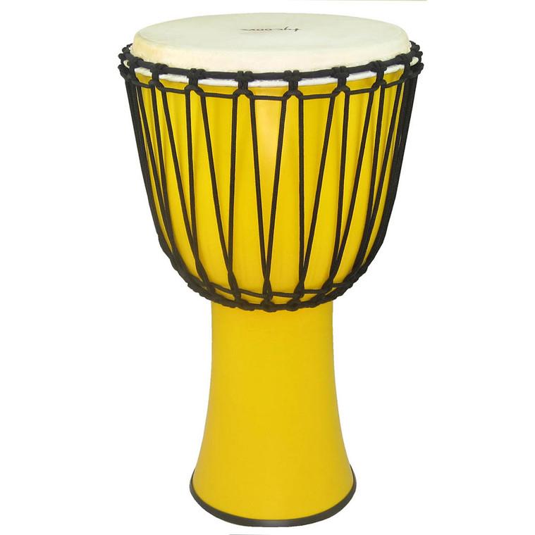 "Tycoon 12"" Fiberglass Djembe Rope Tuned Yellow Finish"