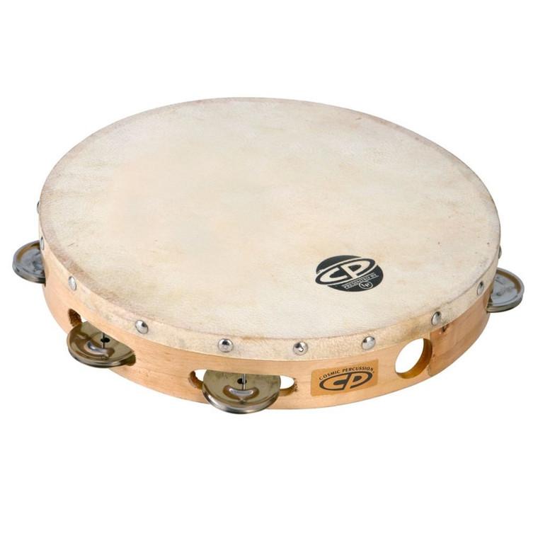 "LP 10"" Wood Tambourine, Headed, Single Row Jingles (CP379)"