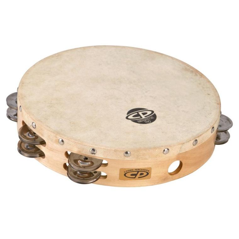 "LP 10"" Wood Tambourine, Headed, Double Row Jingles (CP380)"