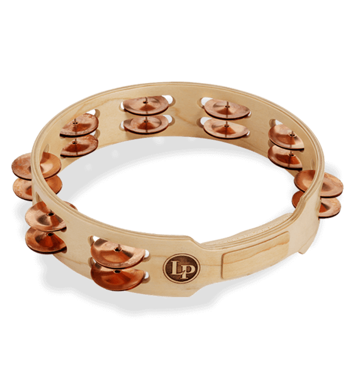 """LP Accent 10"""" Double Row Wood Tambourine With Copper Jingles (LP382-C)"""