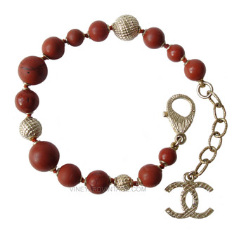 Chanel Natural Stone Bead & Textured Ball Bracelet