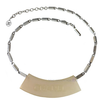 Chanel Silver & Opalescent Nameplate Necklace