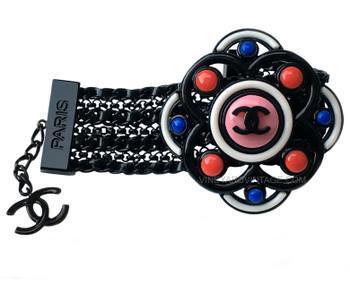 Chanel Black Meshed Metal & Colorful Flower Bracelet
