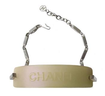 Chanel Silver & Opalescent Nameplate Bracelet