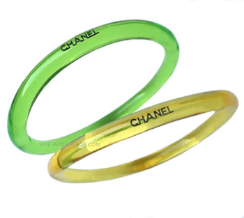 Chanel Set of Two Yellow & Green Lucite Bangles