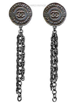 Chanel Paris-Dubai Gunmetal Coin & Chain Earrings