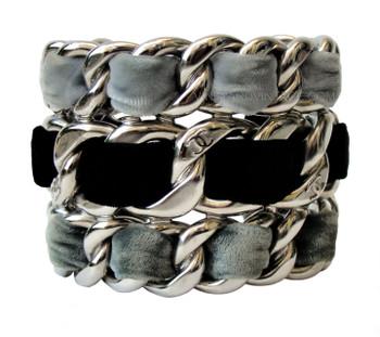 Chanel Triple Row Chunky Velvet Braided Cuff