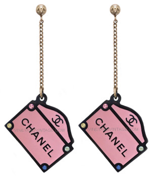 Chanel 31 Rue Cambon Pink Paris Sign Earrings