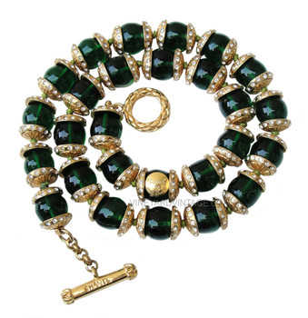Chanel Very Vintage 1970's Emerald Green Gripoix Necklace