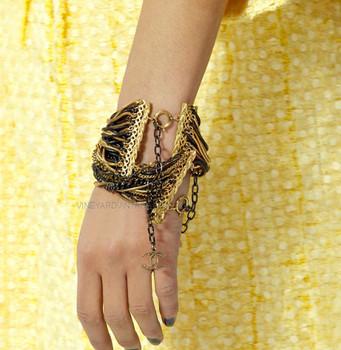 Chanel Multi-Strand Gold & Black Ombré Chain Bracelet