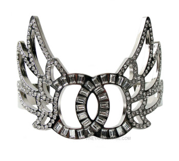 Chanel Baguette CC & Round Crystal Filled Wings Cuff