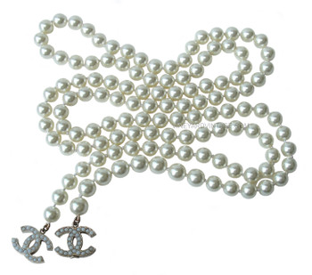 Chanel Long Pearl & Double CC Logo Lariat Necklace