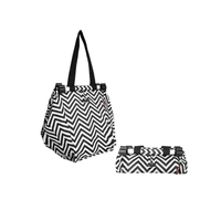 Shopping Trolley Bag - Black & White Zigzag