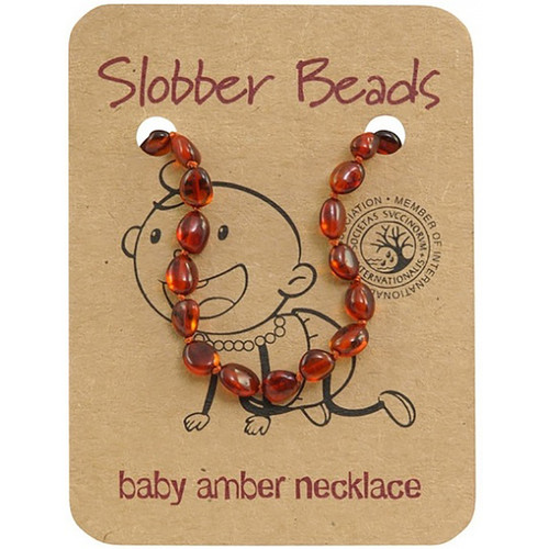 Slobber Beads Baby Baltic Amber Necklace - Cognac Oval