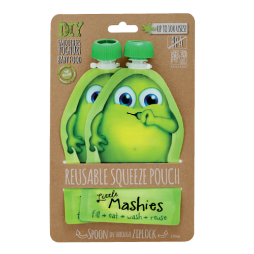 Little Mashies Reusable Food Pouches - 2 Pack Green