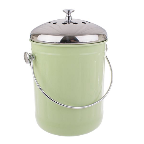 Stylish Counter Top Compost Pail - Green