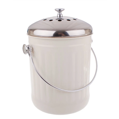 Stylish Counter Top Compost Pail - White