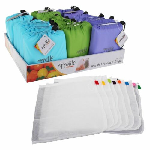 Appetito Mesh Produce Bags - set of 8 with Green Pouch Select Colour