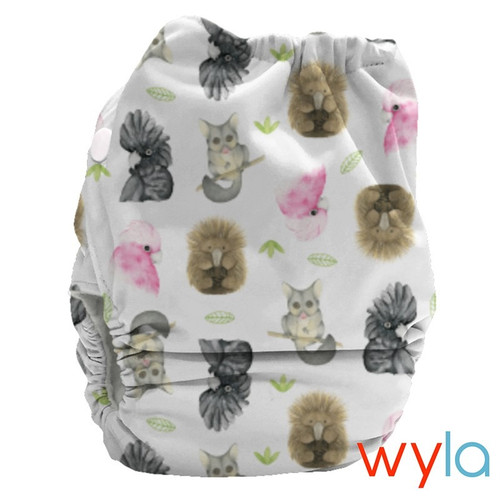 Wyla (Aussie on White) PUL Candie All in Two Complete Nappy